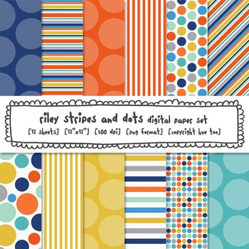 Blue, Orange and Yellow Digital Paper Set, Stripes and Pol