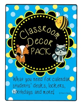 Classroom Decor Pack - Blue and Yellow Polka Dots