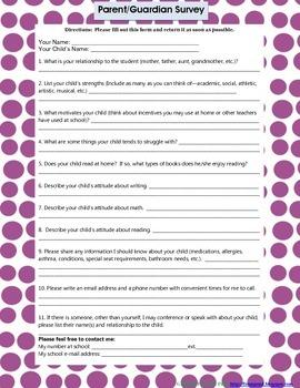 Blue Polka-Dot Parent Survey