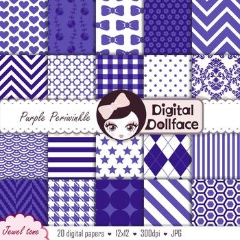 Blue Purple Digital Paper / Periwinkle Backgrounds