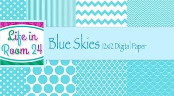 Blue Skies (12x12 Digital Paper Pack)