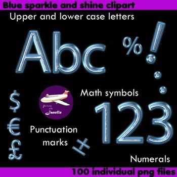 Alphabet Clip Art Blue Sparkle and Shine, Punctuation, Mat