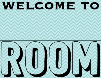 Blue Teacher Room Sign