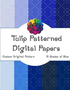 Blue Tulip Pattern Digital Paper