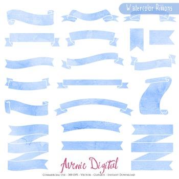 Blue Watercolor Ribbon Banners clip art - ribbons clipart