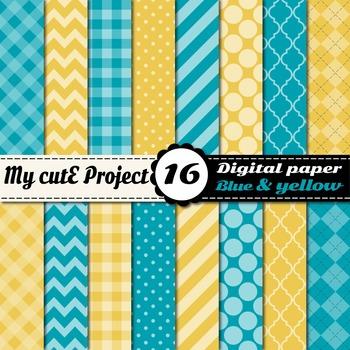 "Blue & Yellow DIGITAL PAPER - Scrapbooking- A4 & 12x12"" -"