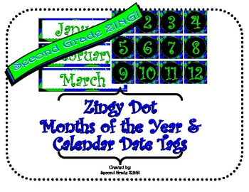 Blue Zingy Dot Calendar Display