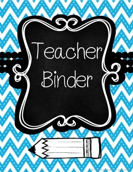 Blue and Black Chevron Teacher Binder