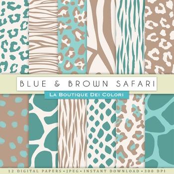 Blue and Brown Animal Prints Digital Paper, scrapbook back