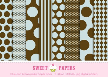 Blue and Brown Stripes and Polkadots Digital Paper Pack -