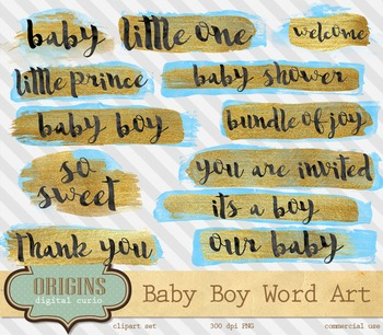 Blue and Gold baby shower word art overlays, baby boy clip
