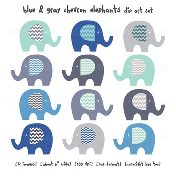 Blue and Gray Chevron Elephant Clip Art, Elephant Images f