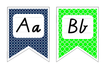 Blue and Green Alphabet Display