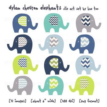 Blue and Green Chevron Elephant Clip Art, Elephant Images