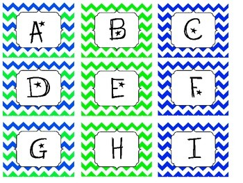 Chevron Blue and Green Letter Labels