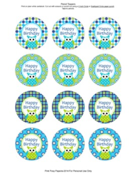 Blue and Green Owl Birthday Pencil Toppers