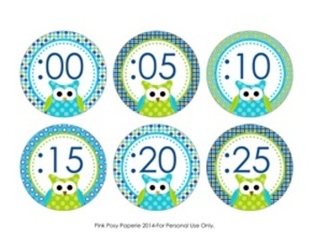 Blue and Green Owl Theme Clock Number Labels
