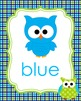 Blue and Green Owl Theme Color Posters
