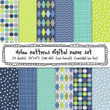 Blue and Green Patterns Digital Paper Set: Polka Dots, Che
