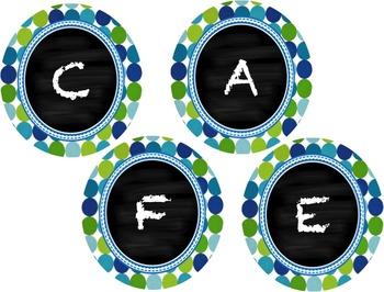 Blue and Green Polka Dot, Chalkboard Style, Daily 5 Classr
