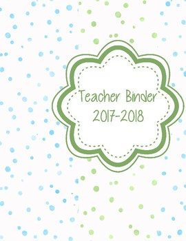 Blue and Green Watercolor Confetti Teacher Binder