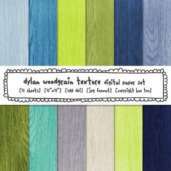 Blue and Green Woodgrain Digital Paper, Rustic Wood Digita