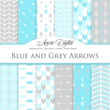 Blue and Grey Arrow Digital Paper