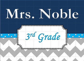Chevron Teacher's Name Sign Blue and Grey