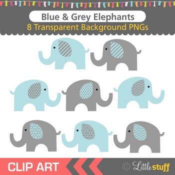 Blue and Grey Elephant Clipart, Blue & Gray Elephant Clip Art