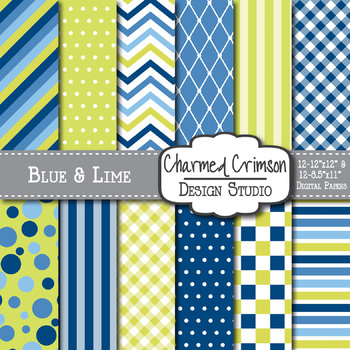 Blue and Lime Green Digital Paper