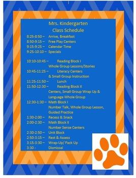 Blue and Orange Class Schedule Template