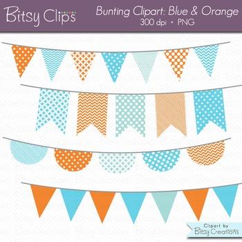 Blue and Orange Goldfish Bunting Clipart Digital Art Set B