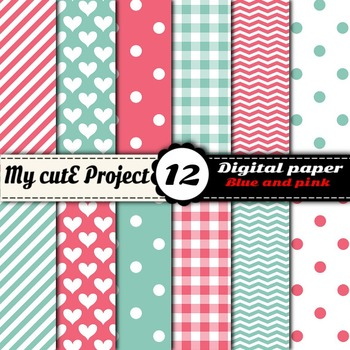 """Blue and Pink  - DIGITAL PAPER - Scrapbooking- A4 & 12x12"""""""