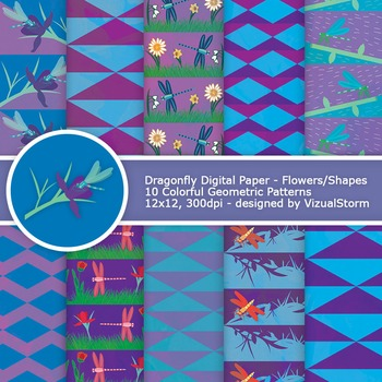 Blue and Purple Dragonfly Digital Paper, colorful dragonfl