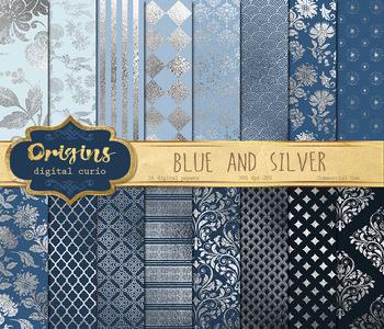 Blue and Silver digital paper, printable scrapbook paper,