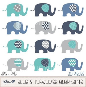 Blue and Turquoise Elephants With Geometrical Patterned Ears