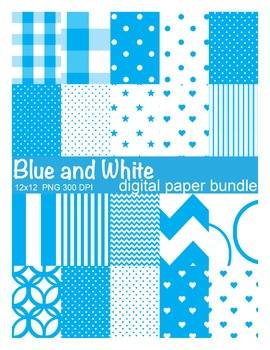 Blue and White Digital Paper