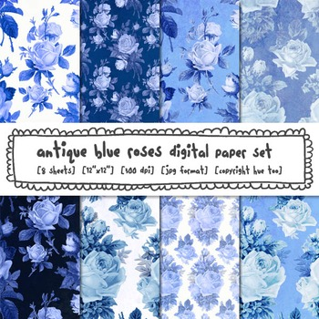 Blue and White Floral Digital Paper, Blue Antique Roses Di