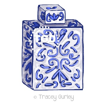 Blue and White Ginger Jar Clip Art Printable Tracey Gurley
