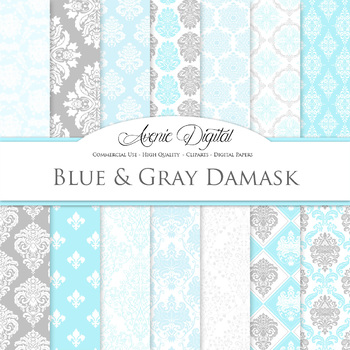 Blue and gray Damask Digital Paper patterns - ornate light