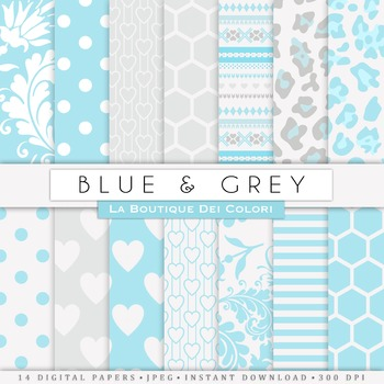 Blue and gray Digital Paper, scrapbook backgrounds.