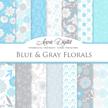 Blue and gray Floral Digital Paper patterns - flower light