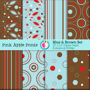 Blue Circles Stripes Leaves Style Digital Papers Set: Grap