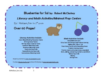 Blueberries for Sal Literacy and Math Activities/Centers O