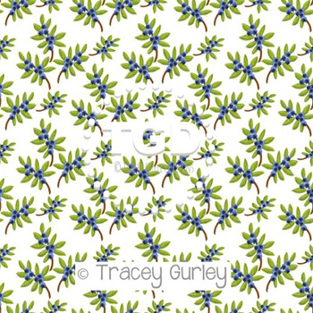 Blueberry on White digital paper Printable Tracey Gurley Designs