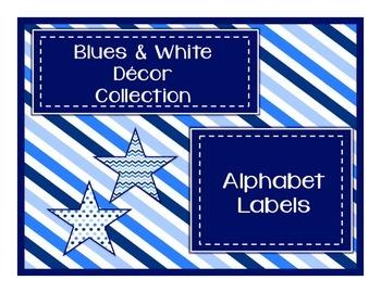 Blues & White Decor: Alphabet Labels