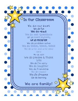 Blues & White/Space Decor: In Our Classroom, We Do Poster