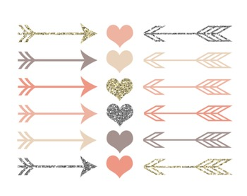 Blush Arrows and Hearts Set #166