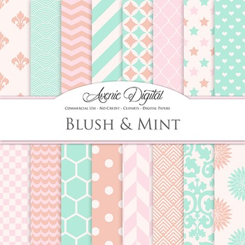 Blush and Mint Digital Paper patterns - backgrounds