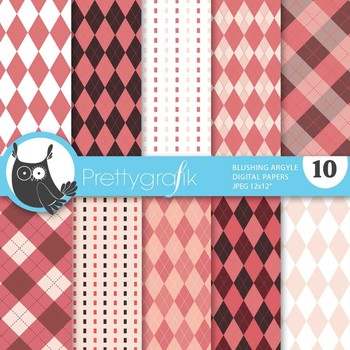 Blushing Argyle digital paper, commercial use, scrapbook p